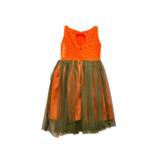 Rola Rola Children Orange Studded Velvet Net Dress