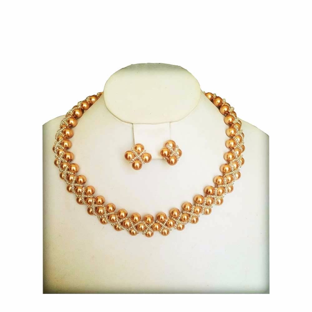 Women Gold Pearl Simple Jewelry Set Cart Rollers
