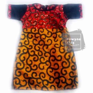 Nuwyne Kids Children Classic Ankara Rhinestone Dress