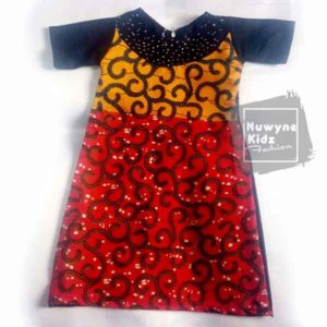 Nuwyne Kids Children Classic Ankara-Rhinestone Dress