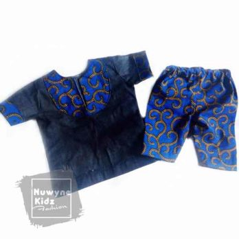 Nuwyne Kids Boys Ankara-Denim Casual Wear