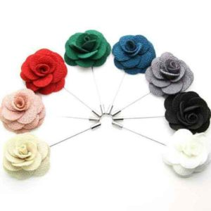 Men Quality Rose Bloom Plain Colored Pin Brooches