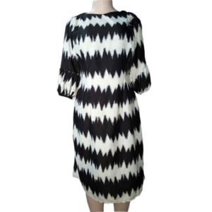 Women Puff Sleeved Fully Lined Monochrome Dress