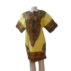 Women Yellow Print Comfortable Danshiki Shirt-Dress