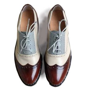 Men Ox-Blood Cream-Grey Laced Leather Shoe