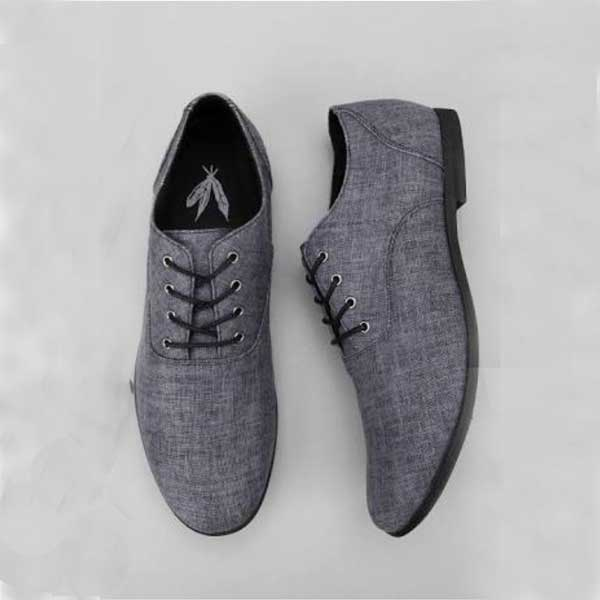 Men Grey Laced Corporate-Casual Shoe
