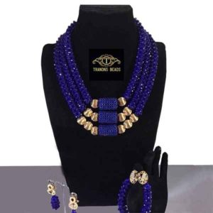 Women Gold Accessory Royal Blue Crystal Beads