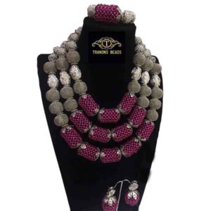 Women Silver Capped Magenta Balls Beaded Accessories