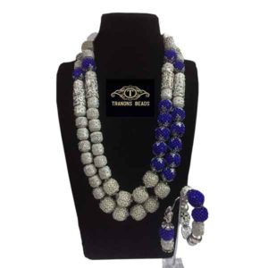Women Silver Accessory Capped Blue Bead Balls