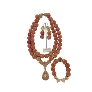 Women Gold Fitted Sponge Chorals Beaded Necklace