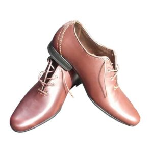 Men Brown Skin Leather Laced Dress Shoe