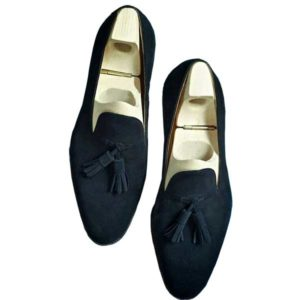 Men Navy Blue Suede Tassel Loafers Shoe