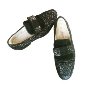 Men Black Glitz Double Bow Design Shoe