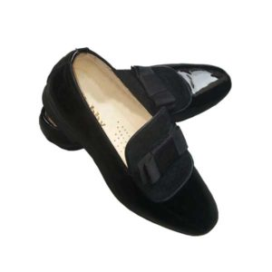 Men Black Wetlooks Double Bow Designed Shoe