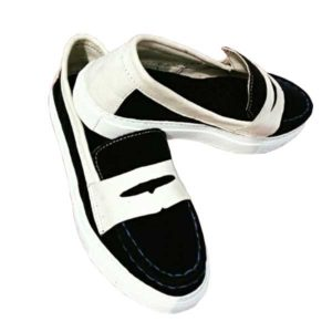 Men Black-White Moccasin Loafers Shoe-Casual