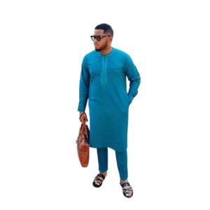 Men Blue Embroidered Long Sleeved Senator Caftan