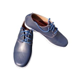 Men Blue Leather Laced Trainers Casual Shoes