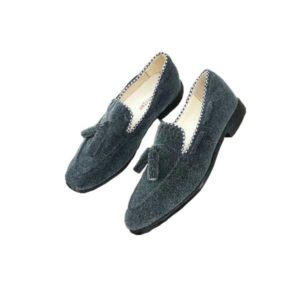 Men Blue Suede Tassel Designed Moccasin Shoe