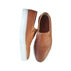 Men Nude White Sole Patterned Leather Loafers Shoe