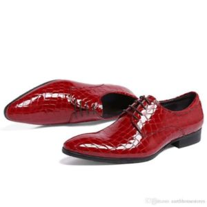 Men Red Laced Skin Leather Dress Shoe