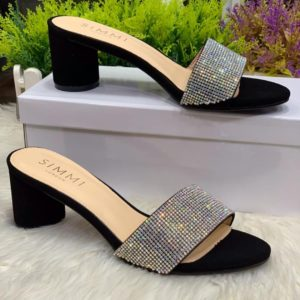 Women Sparkly Stoned Heeled Slippers