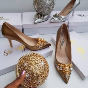 Women Stylish Gold Heeled Shoes With Clutch Purse