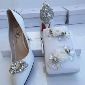 So Me Women White Crystal Studded Patent Shoe