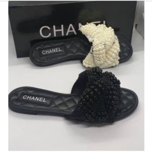 Ladies Beaded-Wrap Flat Slippers By CHANEL