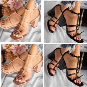 Ladies Multi-Strap Block Heel Sandals