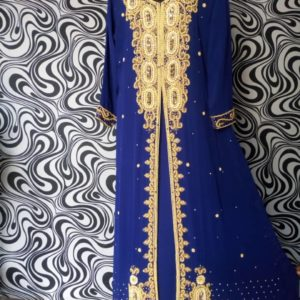Indian HEAVILY EMBROIDERED ABAYA KAFTAN - ROYAL BLUE COLOUR