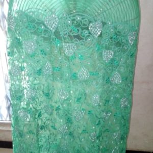 Indian George Lace Fabric - Teal Green