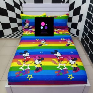 Multi-Colored Mickey Mouse Bed Sheet