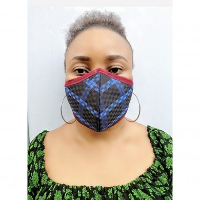 3 Ply Pure Cotton Breathable Nose Mask With Treated Filters - Blue Check