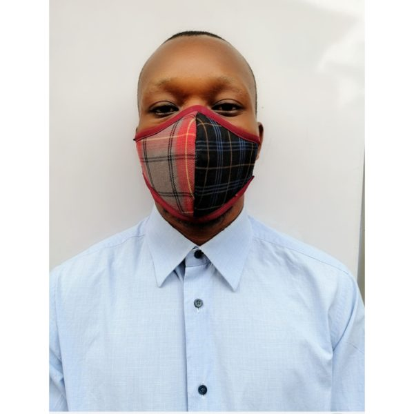 Pure Cotton Breathable Nose Mask With Treated Filters - Wine & Black Checkered