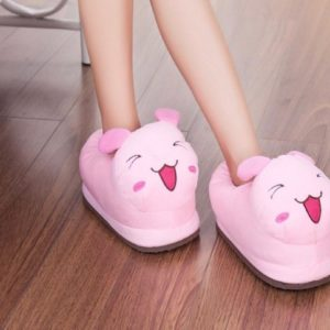 Fluffy Character House Slip Ons - Pink Bunny