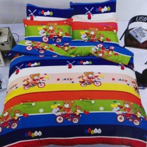 Children's Beary Character Bed Sheet - 4 Pillow Cases