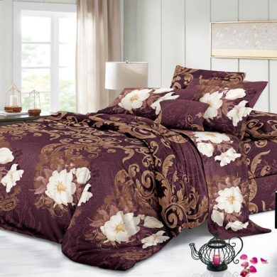 Floral Burgundy Bed Sheet And Duvet - 4 Pillow Cases