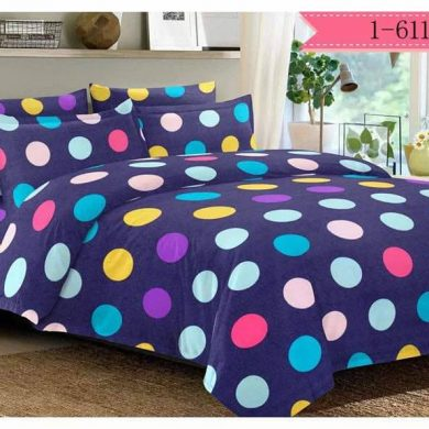 Colourful Polka Dots on Blue Bed Sheet And Duvet - 4 Pillow Cases