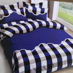 Blue Check Designed Bed Sheet And Duvet - 4 Pillow Cases