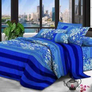 Blue Oriental Designed Bed Sheet And Duvet - 4 Pillow Cases