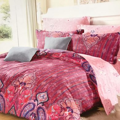 Red Oriental Designed Bed Sheet And Duvet - 4 Pillow Cases