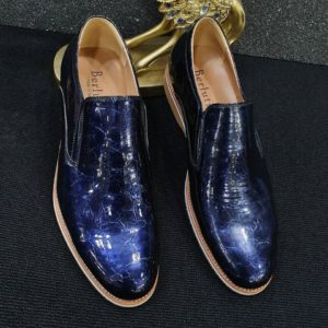 Berluti Men's Blue Croc leather Loafers Shoe