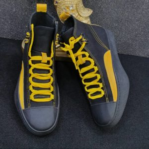 Trendy Unisex Gray And Yellow Sneakers