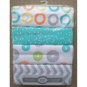 Luvable Friends 4 Piece Baby Receiving Blankets And Flannels
