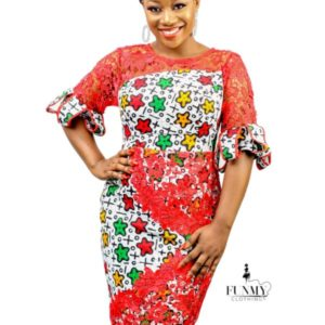 Ankara Short gown with Cord Lace (BELLA)