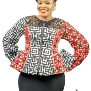 TOLA Ankara Long Sleeve Peplum Top with Lace designs