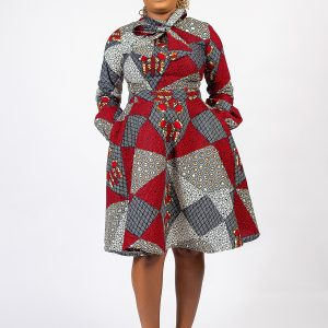 Asake Neck Tie Ankara Dress