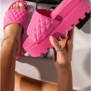 Ladies Classic High Sole Slippers