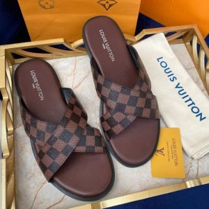 BROWN CRISS-CROSS MEN'S LEATHER PALM SLIPPERS