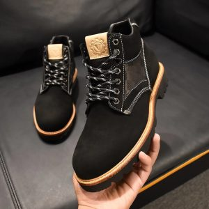 Black Suede Leather Ankle Laced Shoe